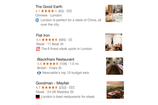 Best-of content in Google local search results