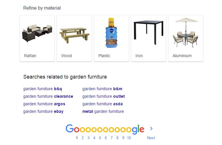 Google garden furniture SERP - Refine by material